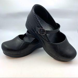 Dansko Black Leather Marah Mary Janes Clogs 38